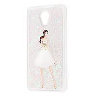 Чехол-накладка (Жидкий Блеск) Girl in White Dress для Meizu M6s Pink