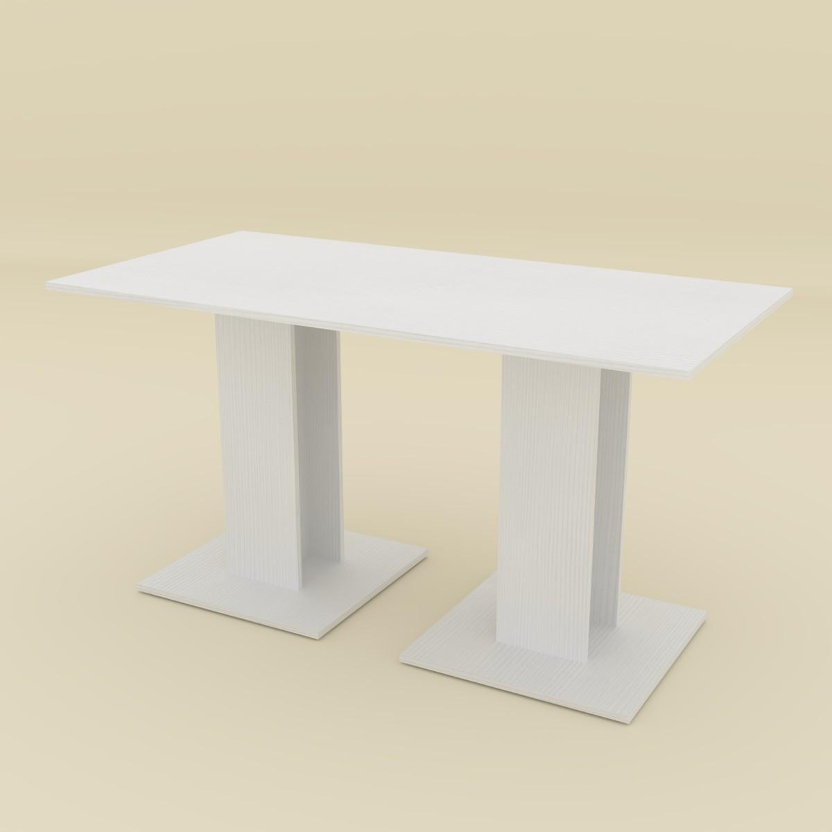 Стол кухонный КС-8 нимфея альба (белый) Компанит (140х70х74 см)
