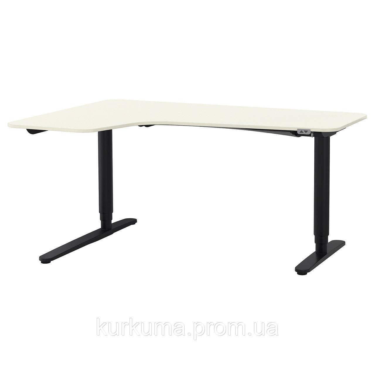IKEA BEKANT Угловой стол, белый, черный  (190.222.81)
