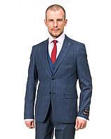 Молодёжный приталенный мужской костюм-тройка Renzo 695