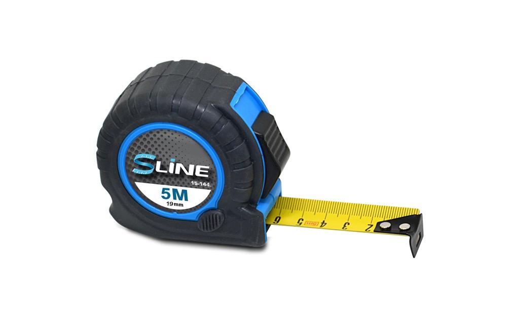 Рулетка S-line обрезиненная 2 функции 19 мм х 5 м (15-144)