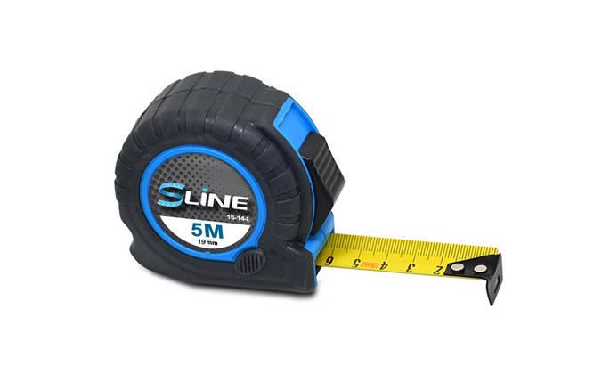Рулетка S-line обрезиненная 2 функции 19 мм х 5 м (15-144), фото 2