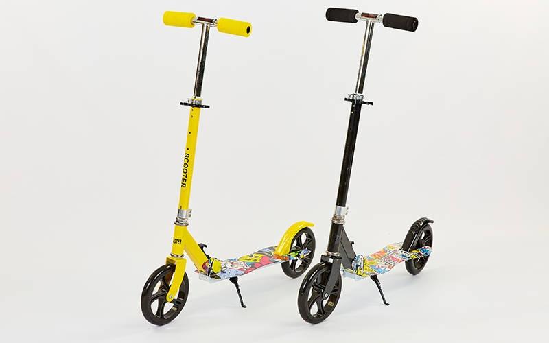 Самокат для взрослых складной  (металл,колесо-PU,d-200мм,р-р платф. 59х17,5см,АВЕС-7,цвета в ассортименте)Z