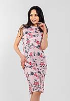 Нежное женское офисное платье-футляр с цветочным принтом Modniy Oazis розовый 90298/1, фото 1