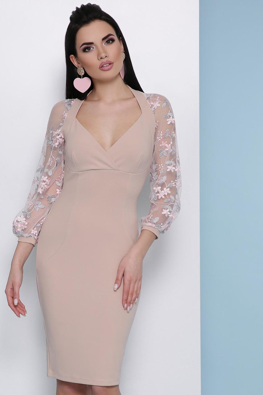 02290a2a86c Модное платье миди облегающее глубокое декольте прозрачный широкий рукав с  вышивкой бежевое -