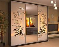 Двери раздвижные для шкафа-купе с пескоструйным рисунком на зеркале