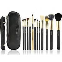 Набор кистей для макияжа MAС 12 штуки + чехол Черный (10038)