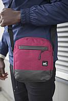 Барсетка мужская, сумка через плечо, мессенджер / красная