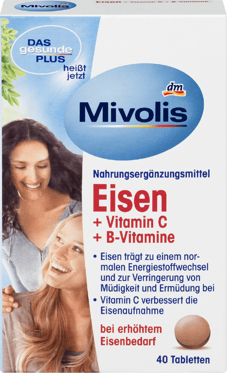 Биологически активная добавка Das Gesunde Plus - Mivolis Eisen, Vitamin C, Vitamin B12, Vitamin B6, 40 шт.