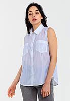 Практичная легкая женская шифоновая полупрозрачная рубашка Modniy Oazis белый 90301, фото 1