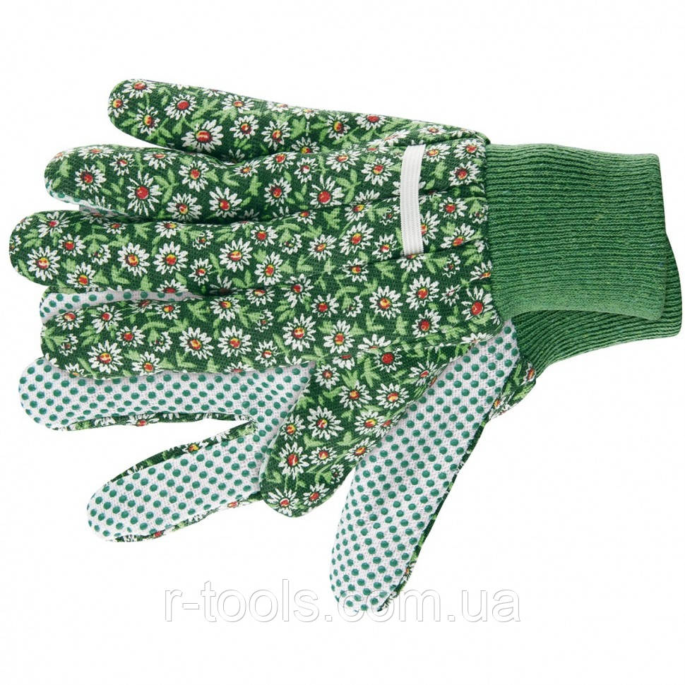 Перчатки садовые х/б ткань с ПВХ точкой манжет L Palisad 677638