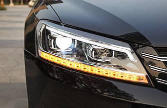 Передние фары VW Passat B7 USA тюнинг Led оптика (стиль B8)