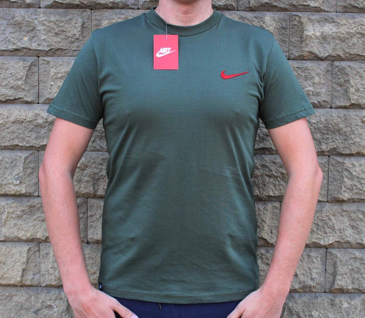 Чистая хлопковая спортивная мужская футболка хаки (Реплика)