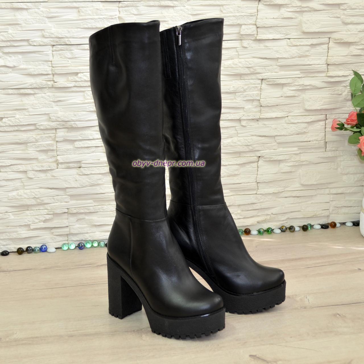 Жіночі чоботи на високих підборах, натуральна шкіра
