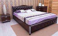 Кровать из бука Прованс с патиной и фрезеровкой мягкая спинка ромбы, фото 1