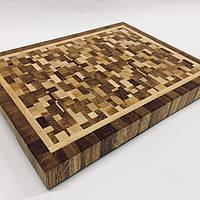 «Хаотичный рисунок» Торцевая разделочная доска  из дерева, кухонная доска, доска для кухни