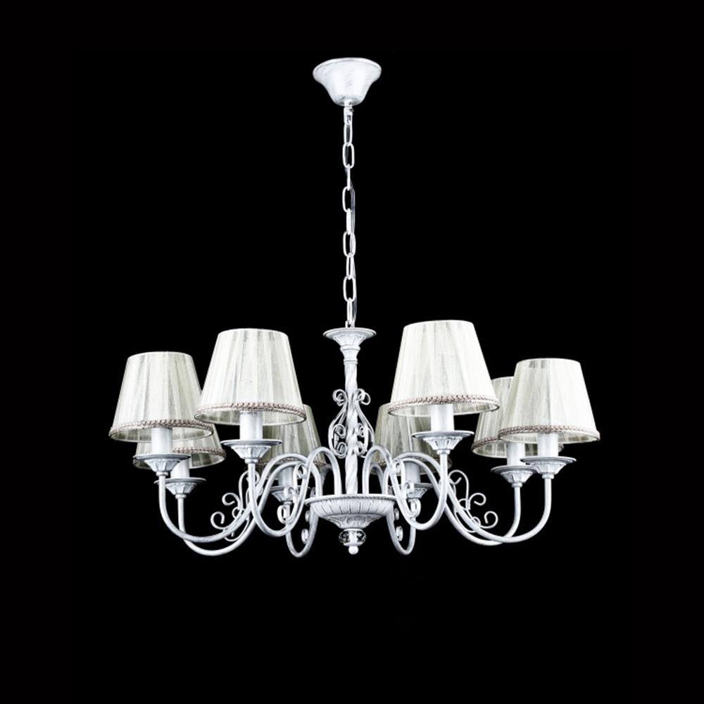 Класична люстра на 8 лампочок СветМира VL-41373/8 (білий з срібною патиною)