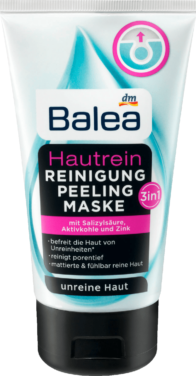 Очищающая маска-скраб для лица Balea Hautrein Soft & Clear 3in1 Aktivkohle, 150 мл.