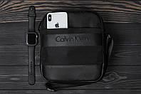 Барсетка мужская кожаная в стиле Calvin Klein | сумка через плечо черная
