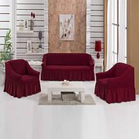 Чехол на диван с креслами бордового цвета