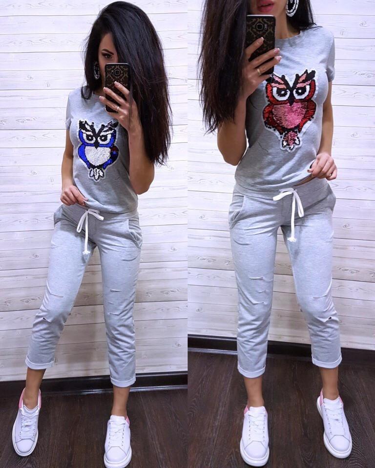 Костюм стильный с футболкой, серый