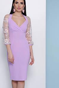Коктейльное платье средняя длина по фигуре глубокое декольте прозрачный широкий рукав с вышивкой цвет лаванда