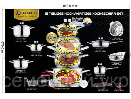 Набор кастрюль, Посуды Набор Кухонной, 19 Предметов, 9 Cлойное Тяжелое Дно, фото 2