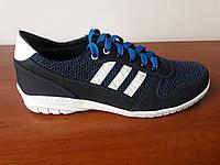 Кросівки чоловічі літні сині з білими полосами, фото 1