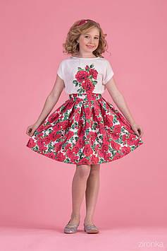 Костюм для девочки с юбкой Красные розы