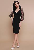 Платье черное стильное с сеточкой и вышивкой нарядное коктейльное 42 44 46 48, фото 3