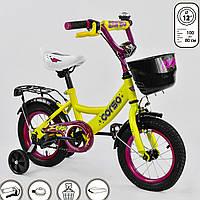 Велосипед 12 дюймов для детей 3, 4 года. Детский двухколесный CORSO для мальчиков и девочек. Желтый