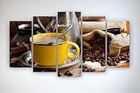 Современные идеи для декора интерьера кухни Модульная картина Чашка кофе Кофейные зерна 125х70 из 5ч