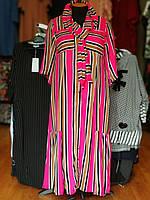 Стильное платье-рубашка из вискозы в полоску розового цвета с поясом