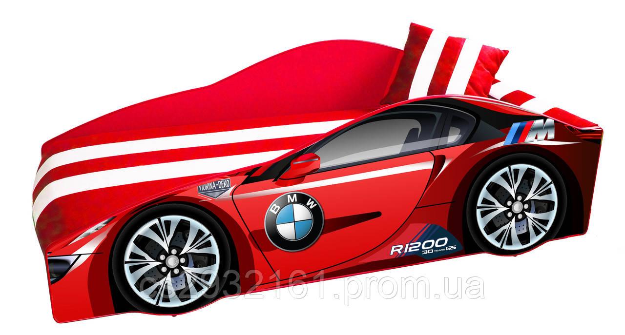 Кровать машина BMW с матрасом, спойлером и подушкой Детская кровать машина BMW Серия Elite 70*150, без ящика, без механизма