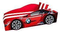 Кровать машина BMW с матрасом, спойлером и подушкой Детская кровать машина BMW Серия Elite 70*150, без ящика, без механизма, фото 1