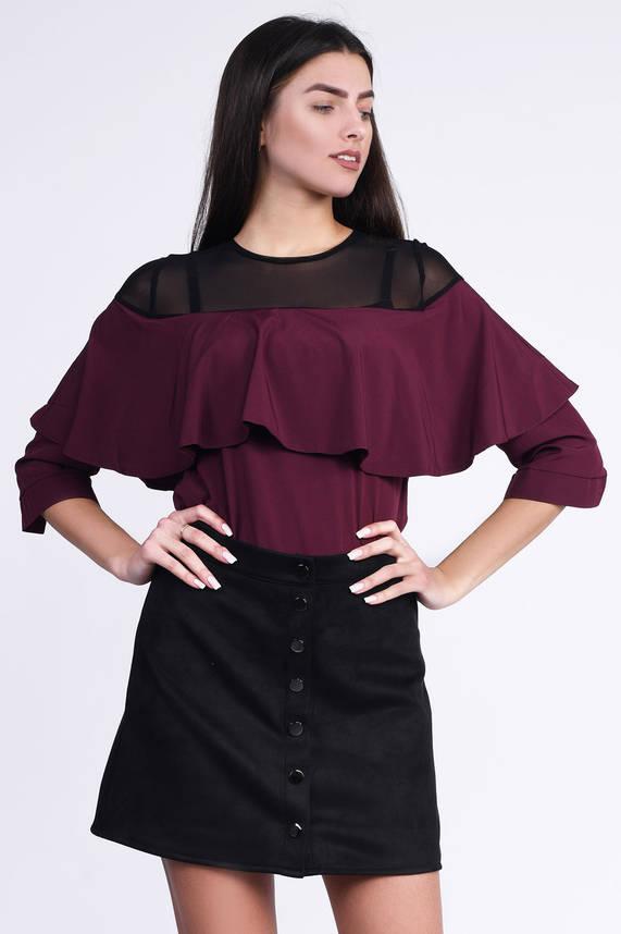 Красивая блузка с воланом и сеткой бордо, фото 2