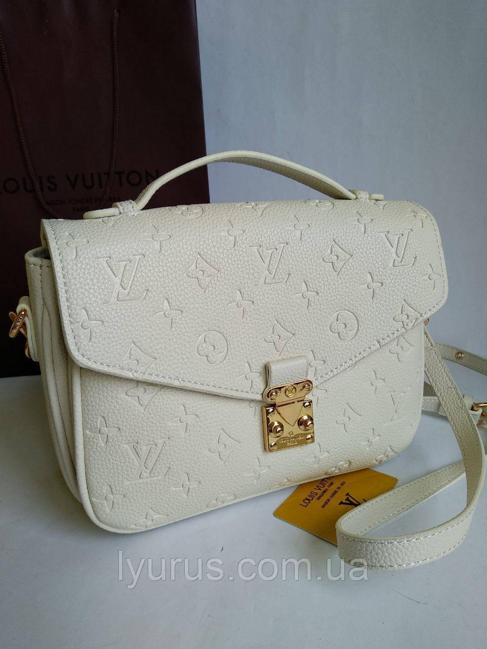 Женская сумка клатч Louis Vuitton Pochette Metis белого цвета