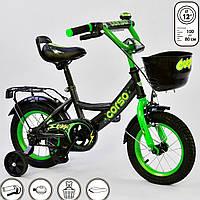 Велосипед 2 колесный для детей 3, 4 года. Детский двухколесный CORSO 12 дюймов для мальчиков. Черно-зеленый