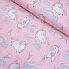 Сатин з єдинорогами, морозивом і веселкою на рожевому тлі, ширина 160 см