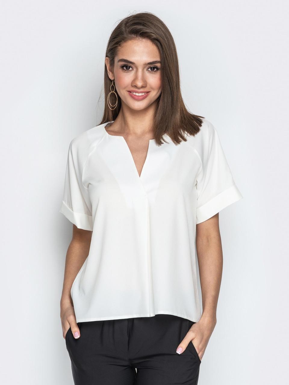(S / 44) Стильна повсякденна біла блузка Sheron