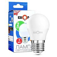 Светодиодная лампа Biom BT-563 G45 7W E27 3000К (теплый свет) матовая