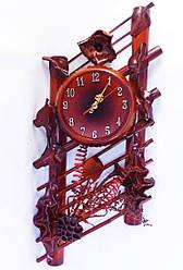 Настенные часы из кожи и бамбука Ажур