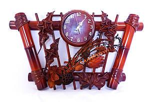 Настенные часы из кожи и бамбука Трапеция