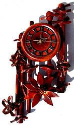 Настенные часы из натуральной кожи и бамбука Ромб