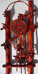 Настенные часы из кожи и бамбука Арка
