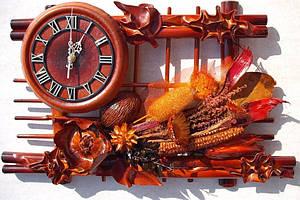 Настенные часы из кожи и бамбука Сухоцветия