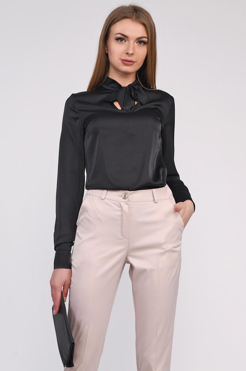 4198532ed3b Шелковая блузка черная классическая - Интернет-магазин одежды ALLSTUFF в  Киеве