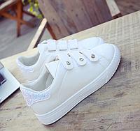 Кроссовки женские с блестками Белые 38 размер