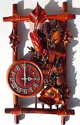 Настенные часы из кожи и бамбука Рамка в сухоцвет