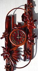Настенные часы из натуральной кожи и бамбука Овал